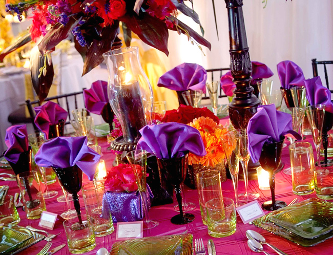 Playful Colors Flowers and Table Setting