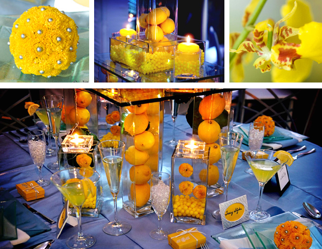 Yellow Party Flowers, Fruit and Candles