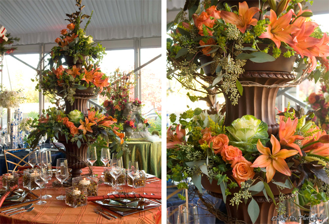Autumn Three-Tier Flowers Centerpiece
