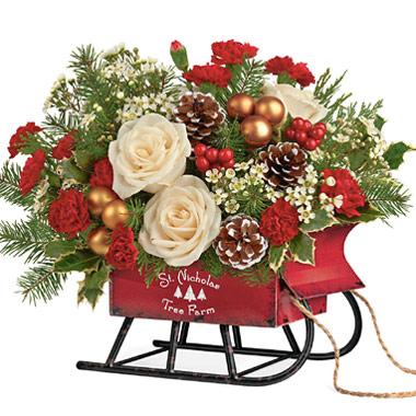 Teleflora Christmas 2019.Teleflora Joyful Sleigh Bouquet 7x305 Florist Delivery In