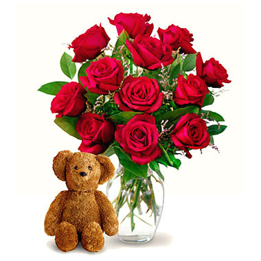 Dozen Rose Vase With Teddy Bear 82dbx Florist Delivery In Chicago