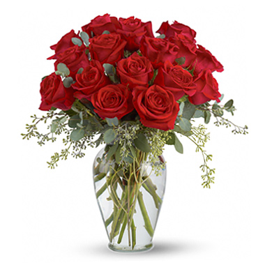 Full Heart Red Rose Vase T2553 Florist Delivery In Chicago And